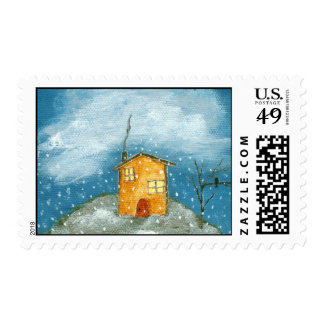 Whimsical House and Tree Primitive Art Stamps