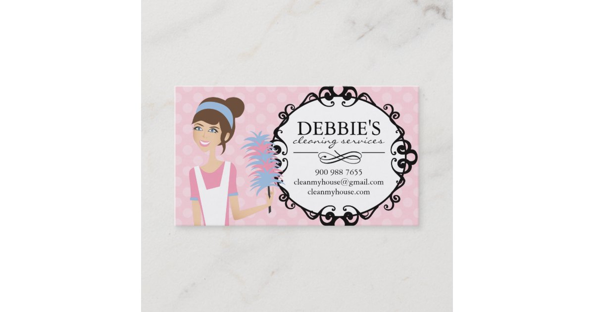 Whimsical House Cleaning Services Business Cards   Zazzle.com