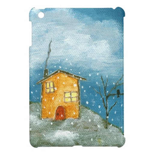 Whimsical House Snow Storm Folk Art Painting Case For The