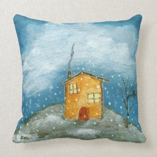 Whimsical House Snowstorm Tree Folk Art Painting Throw Pillow