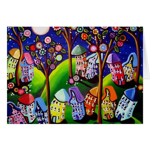Whimsical Houses Trees Fun Card