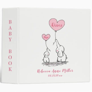 Whimsical Hugs And Kisses Elephants Baby Book 3 Ring Binder