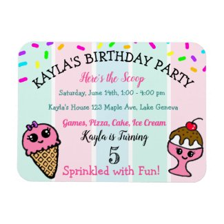 Whimsical Ice Cream and Sprinkles Girl's Birthday Magnet