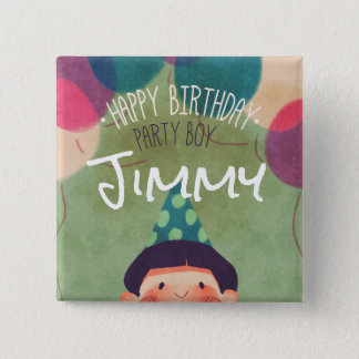 Whimsical Illustration Happy Birthday Party Boy Pinback Button