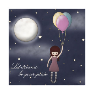 Whimsical, Inspirational Young Girl with Balloons Canvas Print