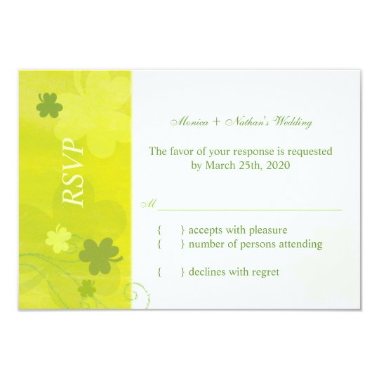 Whimsical Irish Shamrocks Wedding RSVP Card