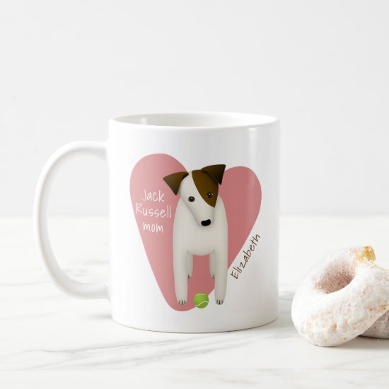 whimsical Jack Russell mom pink heart tennis ball Coffee Mug