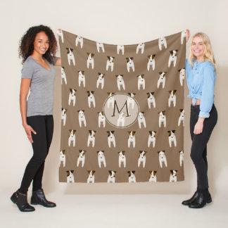 whimsical Jack Russell Terriers pattern monogram Fleece Blanket
