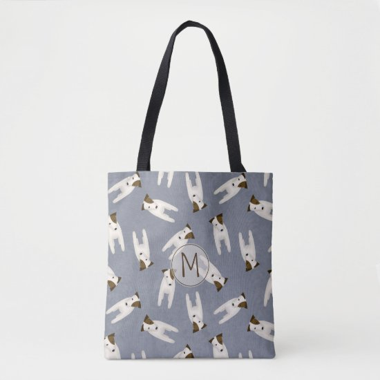 Whimsical Jack Russell Terriers patterned blue Tote Bag