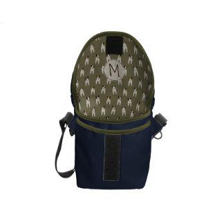 Whimsical Jack Russells navy olive monogrammed Messenger Bag