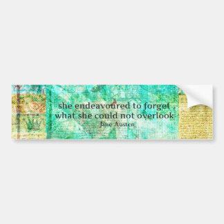 Whimsical JANE AUSTEN Pride and Prejudice QUOTE Bumper Sticker