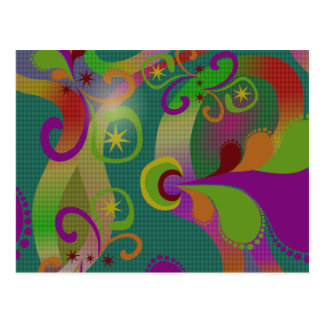Whimsical Jazzy Dancing Colors Swirls and Stars Postcard