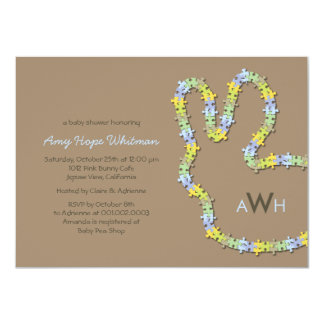 Whimsical Jigsaw Bunny Baby Boy Shower Invitation Personalized Invite