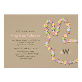 Whimsical Jigsaw Bunny Baby Girl Shower Invitation Announcements