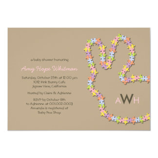 "Whimsical Jigsaw Bunny Baby Girl Shower Invitation 4.5"" X 6.25"" Invitation Card"