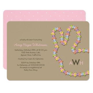 Whimsical Jigsaw Bunny Girl Baby Shower Invite