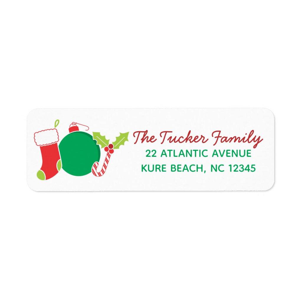 Whimsical JOY Christmas Address Label