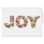 Whimsical JOY Spring Flowers Garden Holiday Card