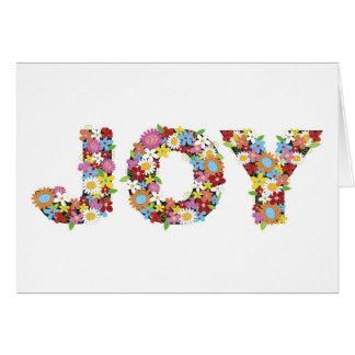 Whimsical JOY Spring Flowers Garden Holiday Card