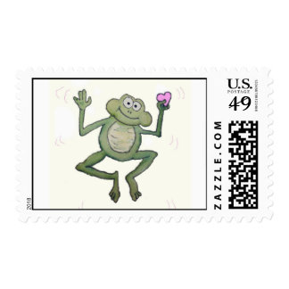 Whimsical Jumping Frog Holding Pink Heart Stamp