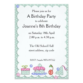 "Whimsical Kid Birthday Invitation 5"" X 7"" Invitation Card"