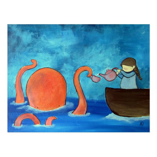 whimsical kids art girl octopus tea party cute postcard zazzle com