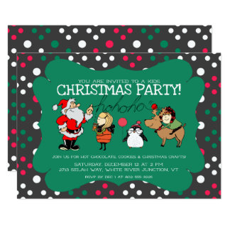 Whimsical Kids Christmas Party Invitation