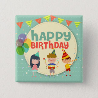 Whimsical Kids Illustration Happy Birthday Party Pinback Button