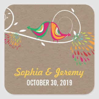 Whimsical Kissing Summer Birds Kraft Paper Wedding Square Sticker