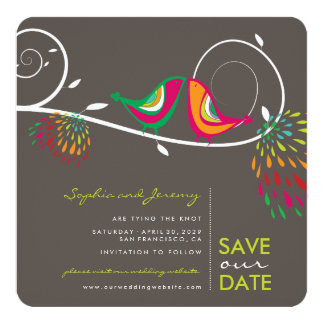Whimsical Kissing Summer Birds Photo Save The Date Card