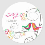 Whimsical Kissing Summer Birds Wedding Stickers