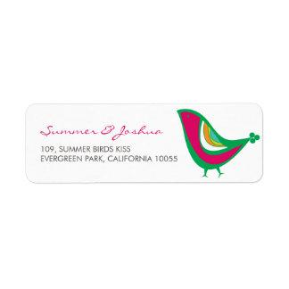 Whimsical Kissing Summer Love Birds Address Labels