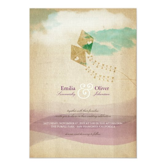 Whimsical Kites Summer Clouds Watercolor Wedding Card