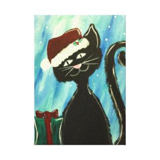 Whimsical Kitty Christmas Painting Canvas Print