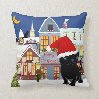 Whimsical Kitty Christmas Pillow