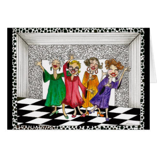 Whimsical Ladies Performing in Song and Dance Greeting Card