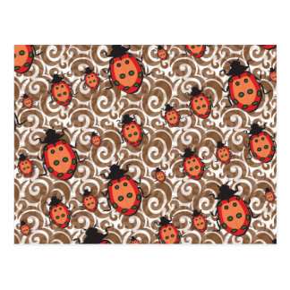 whimsical lady bug pattern post card