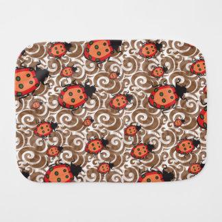 whimsical lady bug pattern baby burp cloth