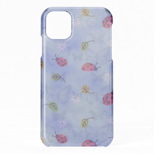 Whimsical Ladybirds and Butterflies on Blue iPhone 11 Case