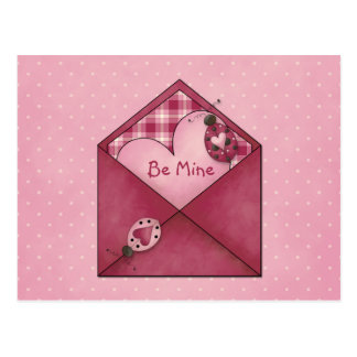 Whimsical Ladybugs Hearts on Envelope Valentine Postcard