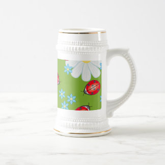 Whimsical Ladybugs On Garden Daisies Beer Stein