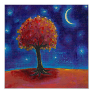 Whimsical landscape painting art stars for wishing card