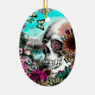 Whimsical Landscape skull with florals Double-Sided Oval Ceramic Christmas Ornament