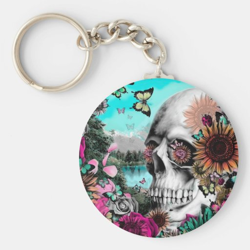 Whimsical Landscape skull with florals Keychain Zazzle