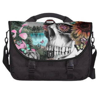 Whimsical Landscape skull with florals Laptop Bag