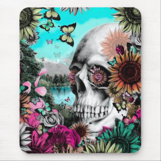 Whimsical Landscape skull with florals Mouse Pad