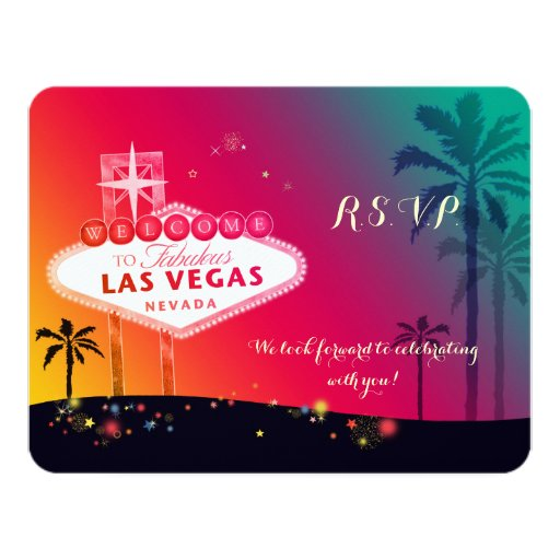 Whimsical Las Vegas Wedding RSVP Card Zazzle