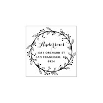 Whimsical Laurel Wreath Custom Return Address Rubber Stamp