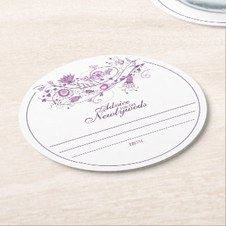 Whimsical Lavender Advice for Newlyweds Coaster