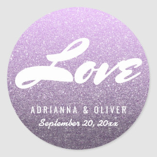 Whimsical Lavender Glitter Wedding Love Typography Classic Round Sticker